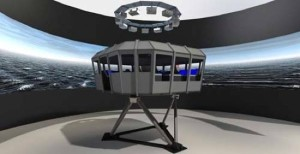 Artists impression of the 6 DOF (degree of freedom) motion platform and visual system.