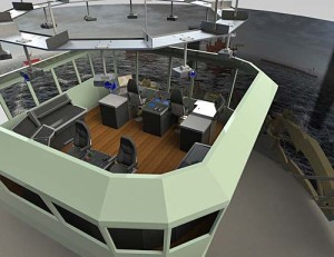 Artists impression of the6 DOF (degree of freedom) motion bridge including a DNV class A Dynamic Positioning system.